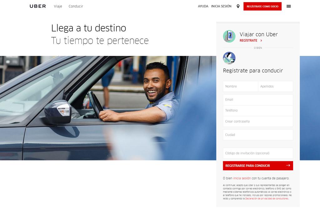 ejemplo landing page uber