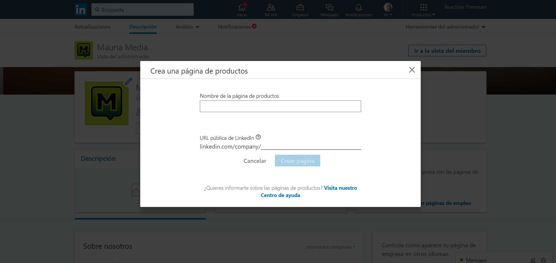 Página Producto LinkedIn
